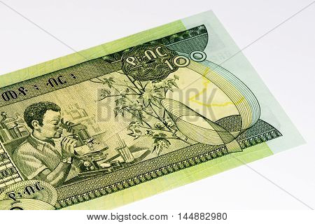 100 Ethiopian birr bank note. Birr is the national currency of Ethiopia