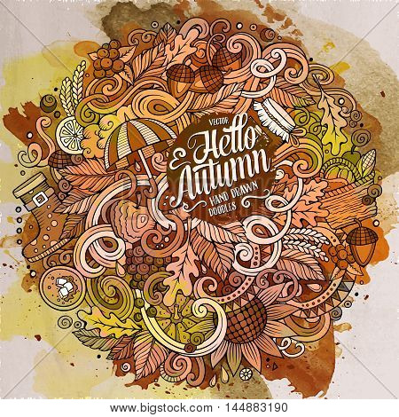 Cartoon cute doodles hand drawn autumn illustration. Watercolor detailed, with lots of objects background. Funny vector artwork. Paint picture with fall season theme items