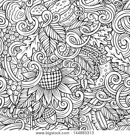Cartoon cute doodles hand drawn autumn seamless pattern. Monochrome detailed, with lots of objects background. Endless funny vector illustration. Line art backdrop with fall season symbols and items
