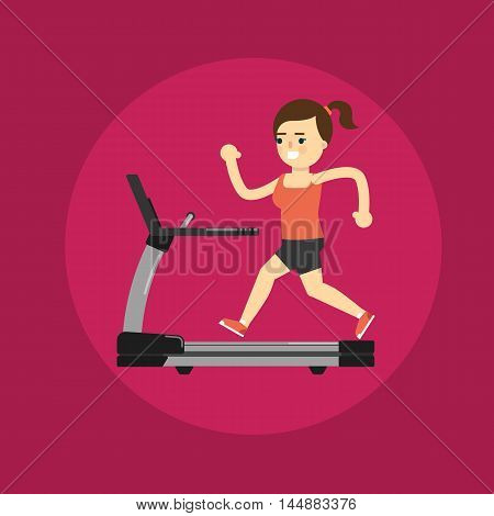 Vector illustration of young smiling girl running on treadmill. Active sport lifestyle. Cardio running training. Cartoon character in flat style on purple background.