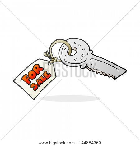 freehand drawn cartoon house key with for sale tag