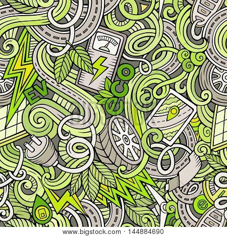 Cartoon cute doodles hand drawn Electric vehicle seamless pattern. Colorful detailed, with lots of objects background. Endless funny vector illustration. backdrop with eco cars symbols and items