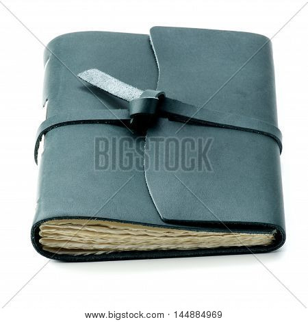 Luxury Handmade Leather Dark Green Notepad with Craft Paper isolated on White background