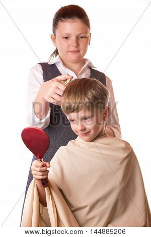 Boy At A Reception At The Barber