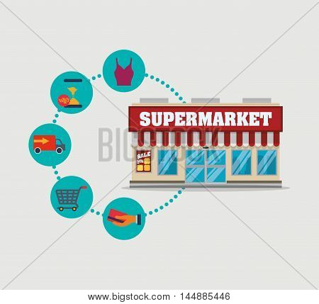 supermarket awning shopping cart cloth credit card shop store sale offer market icon set. Colorful and flat design. Vector illustration