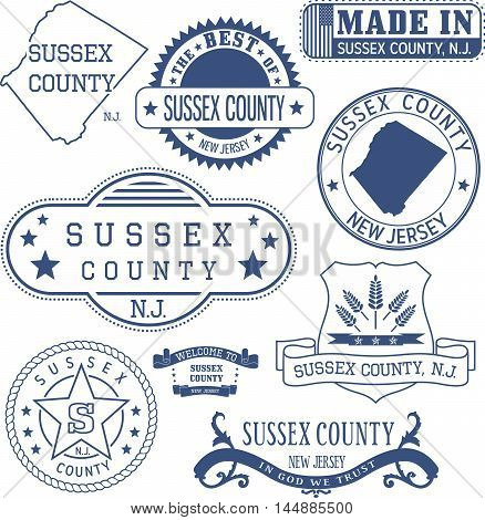 Sussex county New Jersey. Set of generic stamps and signs.