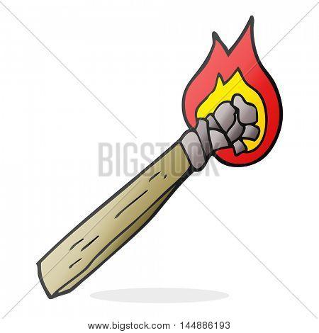freehand drawn cartoon burning wood torch