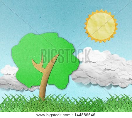 summer view recycled paper craft stick on white background