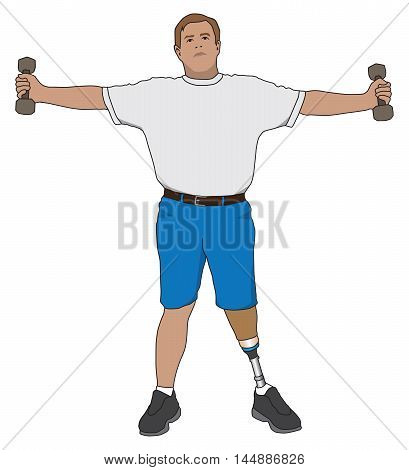Left leg amputee working out with weights