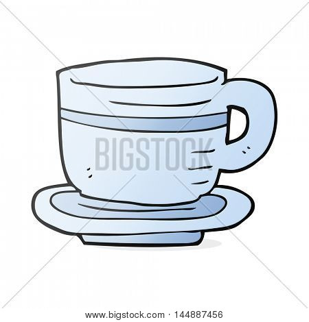 freehand drawn cartoon cup and saucer