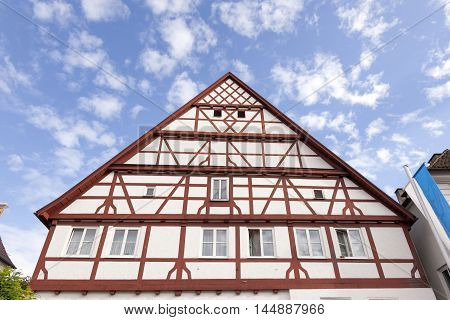 Traditional half-timbered frame house in bavarian town Gunzburg Germany