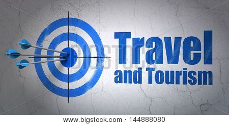 Success travel concept: arrows hitting the center of target, Blue Travel And Tourism on wall background, 3D rendering