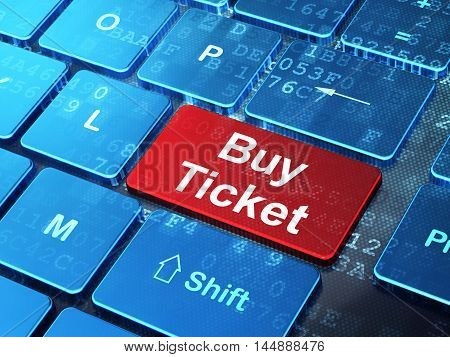 Tourism concept: computer keyboard with word Buy Ticket on enter button background, 3D rendering