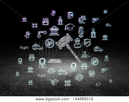 Law concept: Glowing Gavel icon in grunge dark room with Dirty Floor, black background with  Hand Drawn Law Icons