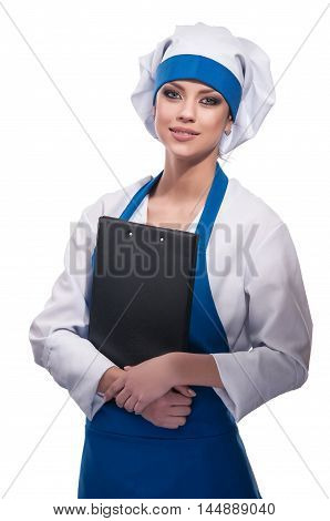 pretty girl in clothes cook isolated background