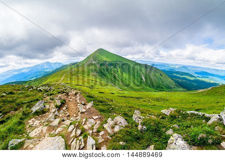 The highest mountain of Ukraine Hoverla 2061 m. Chornogora ridge, Ukraine. Carpathians.