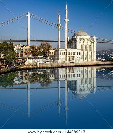 Ortakoy Mosque. Bridge over Bosporus. Minarets Blue sky
