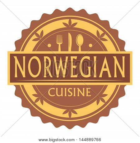 Abstract stamp or label with the text Norwegian Cuisine written inside, traditional vintage food label, with spoon, fork, knife symbols, vector illustration