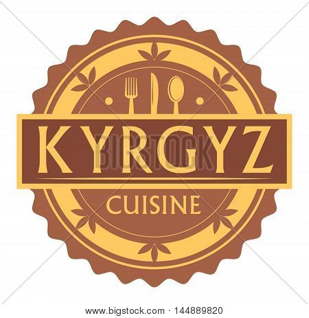 Abstract stamp or label with the text Kyrgyz Cuisine written inside, traditional vintage food label, with spoon, fork, knife symbols, vector illustration
