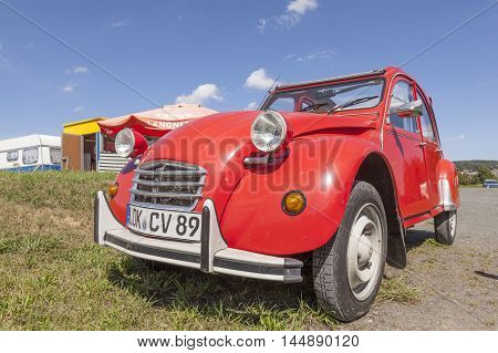 BISCHOFFEN GERMANY - AUG 13 2016: Historic french car Citroen 2CV. The 2CV was built from 1948 through 1990