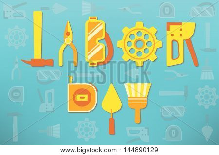 Tools arranged as text representing labor day celebration