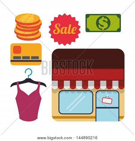 supermarket awning cloth money shopping shop store sale offer market icon set. Colorful and flat design. Vector illustration