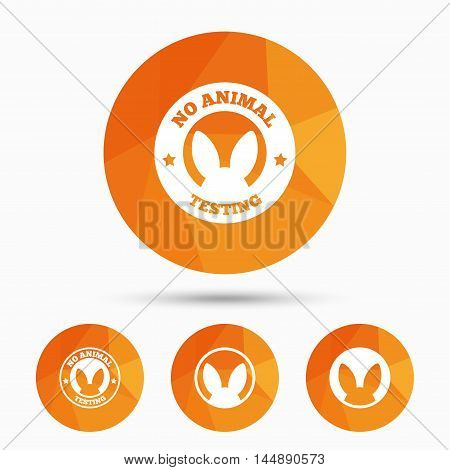No animals testing icons. Non-human experiments signs symbols. Triangular low poly buttons with shadow. Vector