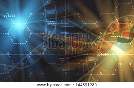 Dna And Medical And Technology Background. Futuristic Molecule Structure Presentation