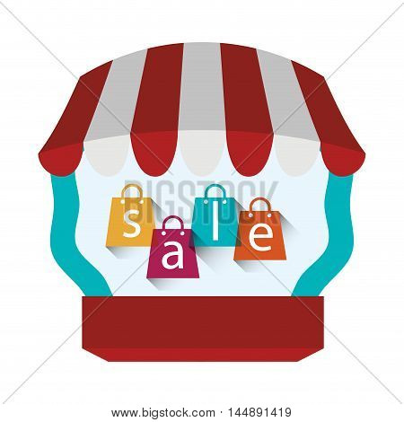 supermarket awning shopping bag shop store sale offer market icon set. Colorful and flat design. Vector illustration