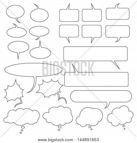 Vector Set Of Outline Speech Bubbles