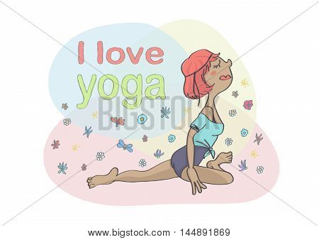 Colorful cartoon of woman or girl doing yoga. Cute vector drawing of yoga pigeon pose on colorful background.