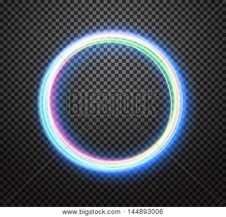 Round light trail vector special effect with transparency isolated on checkered background. Colorful glowing neon ring design element for decoration
