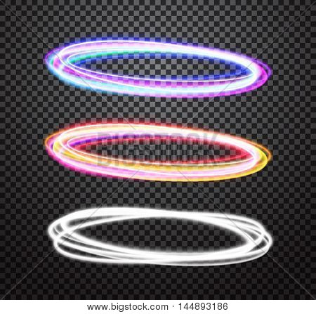 Round light trails vector special effects set with transparency on plaid background. Colorful glowing blue-violet and orange-red rings design elements for decoration