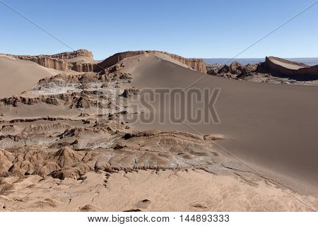 Sand Dune and the Amphitheatre - geological formation - at Valle de la Luna (Moon Valley), Atacama Desert, Chile