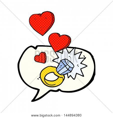 freehand drawn comic book speech bubble cartoon diamond engagement ring