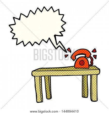 freehand drawn comic book speech bubble cartoon phone ringing on desk