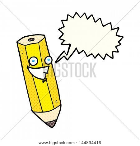 happy freehand drawn comic book speech bubble cartoon pencil