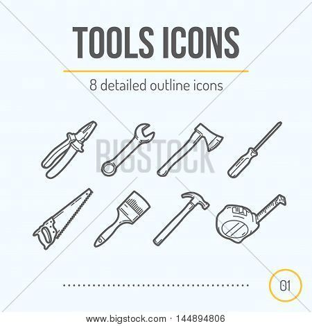 Tools Icons Set (Pliers Wrench Axe Screwdriver Saw Brush Hammer Tape Measure). Trendy Thin Line Design. Vector Illustration.