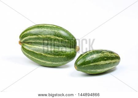 pointed gourd potol green vegetable on white background