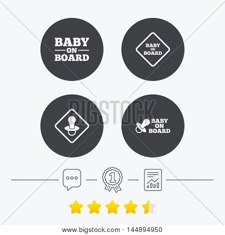 Baby on board icons. Infant caution signs. Nipple pacifier symbol. Chat, award medal and report linear icons. Star vote ranking. Vector
