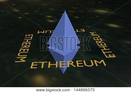 ethereum cryptocurrency a sign on the background of the universe