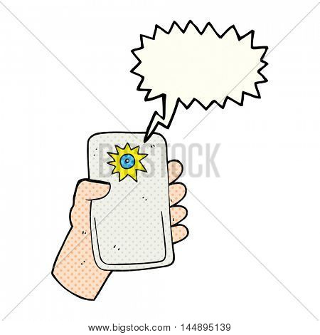freehand drawn comic book speech bubble cartoon camera taking photo