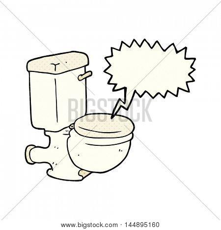 freehand drawn comic book speech bubble cartoon toilet