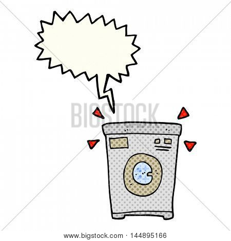 freehand drawn comic book speech bubble cartoon washing machine