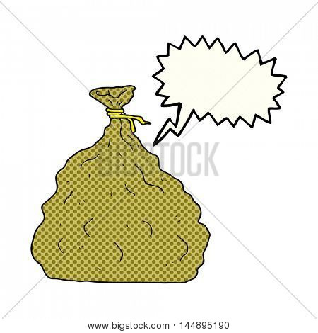 freehand drawn comic book speech bubble cartoon tied sack