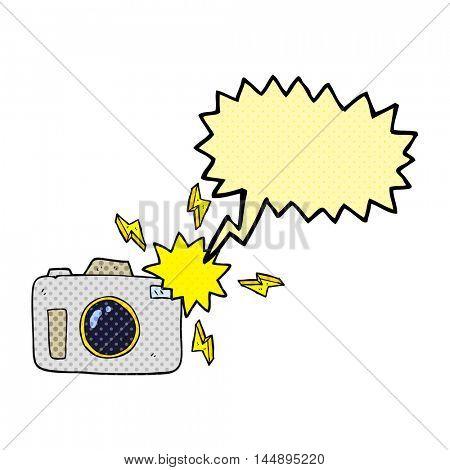 freehand drawn comic book speech bubble cartoon flashing camera