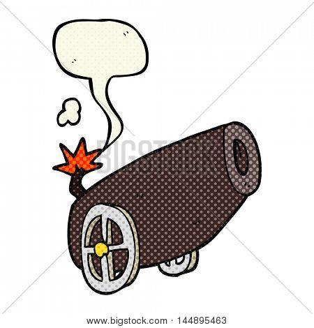 freehand drawn comic book speech bubble cartoon cannon