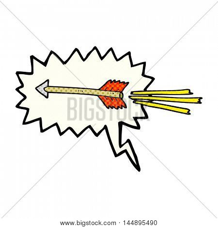 freehand drawn comic book speech bubble cartoon flying arrow