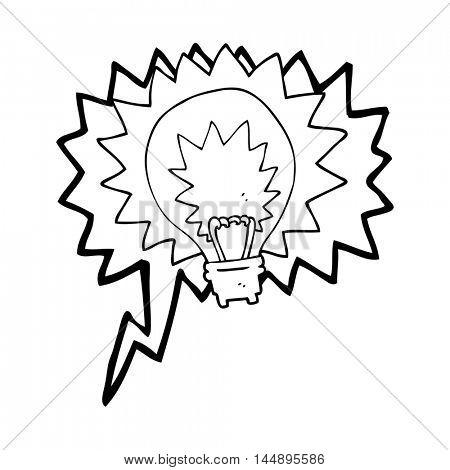 freehand drawn speech bubble cartoon light bulb shining