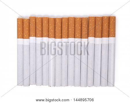 Filter cigarettes on white background
